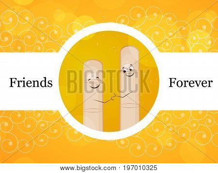 illustration of fingers with friends forever text on the occasion of friendship day