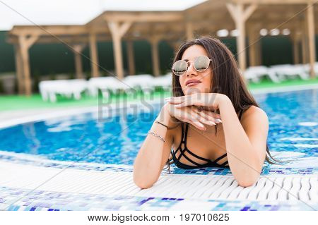 Sexy Slim Beautiful Woman Relax At Pool Edge. Summer Vocation