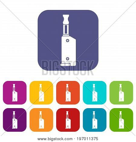 Electronic cigarette with mouthpiece icons set vector illustration in flat style in colors red, blue, green, and other