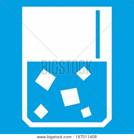 Glass of whiskey and ice icon white isolated on blue background vector illustration