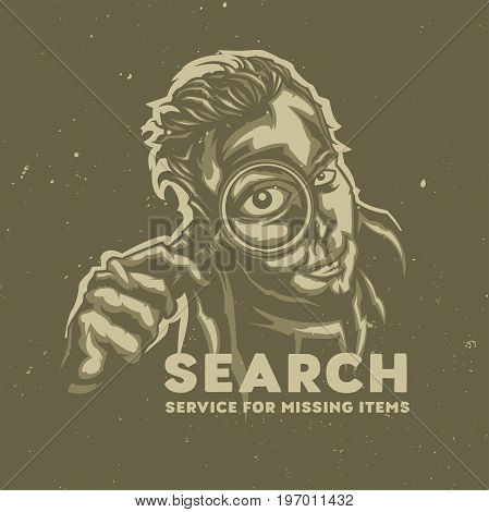 T-shirt or poster design with illustraion of men holding magnifier