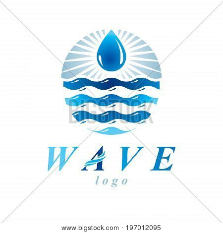 Fresh mineral water design vector emblem for use as marketing design symbol. Body cleansing concept.