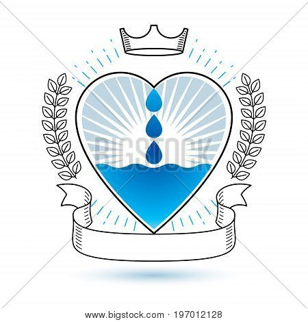 Vector blue clear water drop logo for use as marketing design symbol. Living in harmony with nature concept.