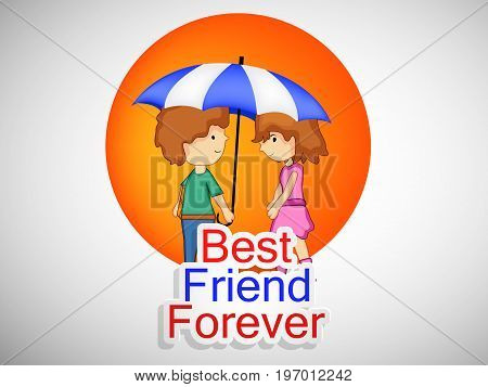 illustration of boy and girl under umbrella with best friend forever text on the occasion of friendship day