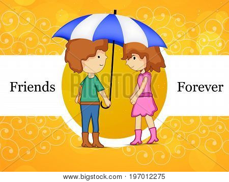 illustration of boy and girl under umbrella with friends forever text on the occasion of friendship day