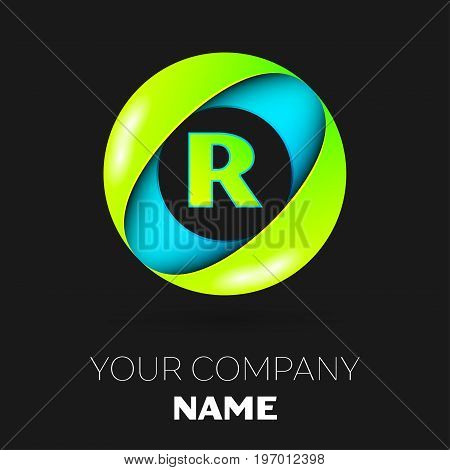 Realistic Letter R vector logo symbol in the colorful circle on black background. Vector template for your design