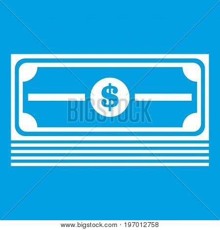 Stack of dollars icon white isolated on blue background vector illustration