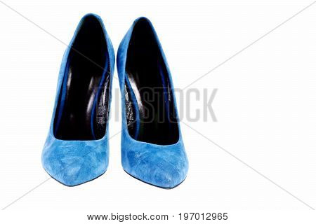Fancy Blue Suede Shoes Isolated On White Background