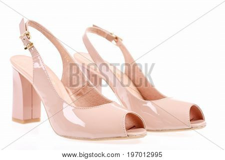 Female High Heel Sandals In Pink Colour.