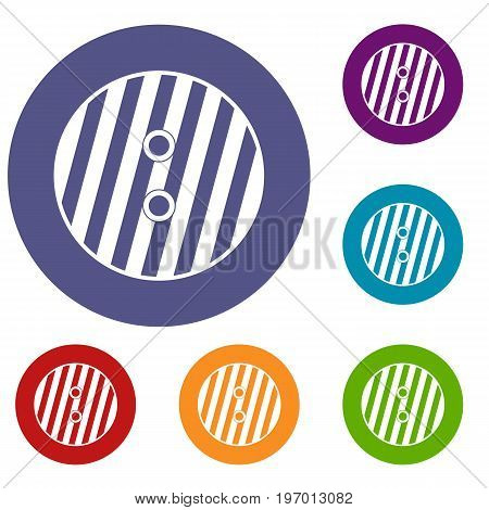 Striped sewing button icons set in flat circle red, blue and green color for web