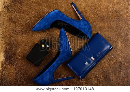 High Heel Shoes, Clutch In Dark Blue Color And Perfume