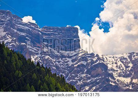 Alpine Landscape Layers In Dolomite Alps View