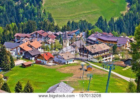 Alpine village of Antermoia in Val Badia South Tyrol Alps of Italy