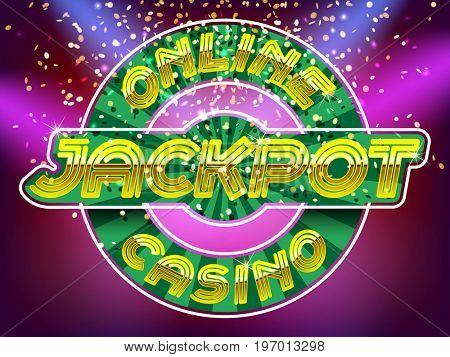Online casino jackpot lettering. Neon Light Alphabet Vector Font. Neon tube letters on the gold money fall and lightspot background