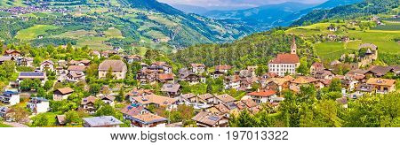 Idyllic Alpine Village Of Gudon Architecture And Landscape Panoramic View
