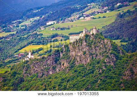 Kloster Saben Castle On Green Apls Hills Near Sabiona