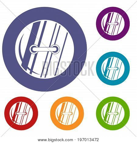 Round sewn button icons set in flat circle red, blue and green color for web