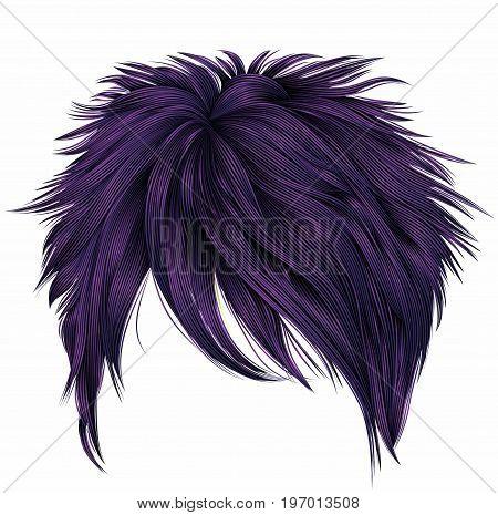 trendy woman short  hairs  purple  colors . fringe . fashion beauty style . realistic  3d .