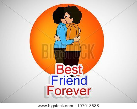 illustration of boys embracing each other with best friend forever text on the occasion of friendship day