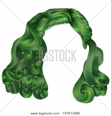 trendy woman short  hairs green colors .fringe. fashion beauty retro style . realistic 3d .
