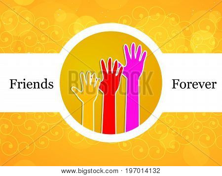 illustration of colorful hands with friends forever text on the occasion of friendship day