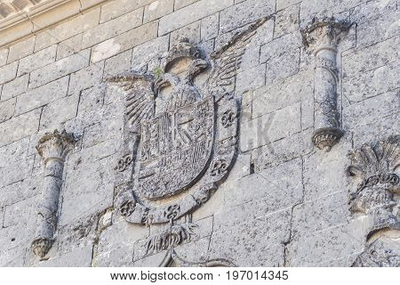 Baeza Cathedral facade detail in Jaen Spain