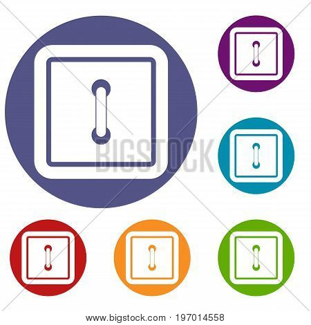 Sewn square button icons set in flat circle red, blue and green color for web