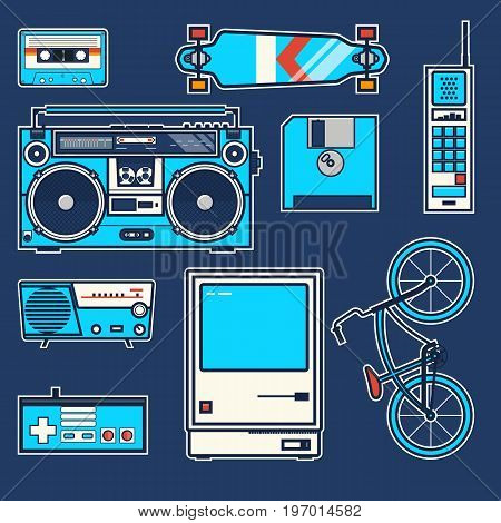 Retro elements bicycle, phone, computer, diskette, skateboard, Joystick, boombox, cassette, radio Vintage vector graphic poster Line art vector illustration