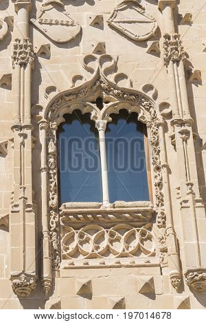 Jabalquinto Palace window facade details Baeza in Spain