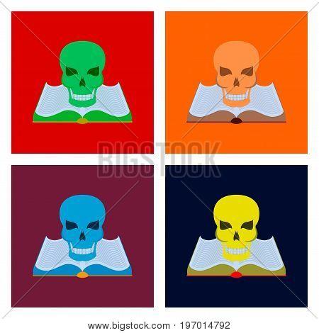 assembly of flat illustration halloween book skull