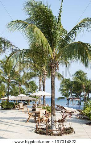 The tourist area by the beach on Roatan island (Honduras).
