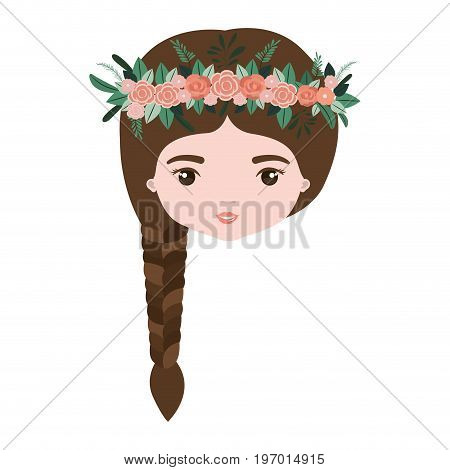 colorful caricature closeup front view face woman with braid hairstyle and crown decorate with flowers vector illustration