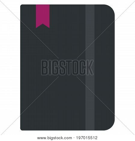 Moleskin notebook icon, vector illustration flat style design isolated on white. Colorful graphics