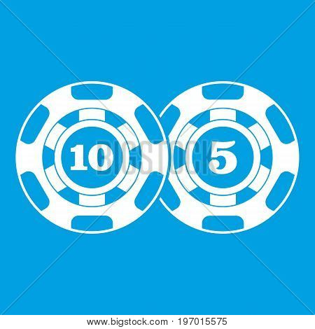 Poker chips nominal five and ten icon white isolated on blue background vector illustration