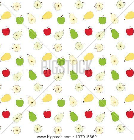 Fruit pattern, background, pears and apples, vector EPS 8