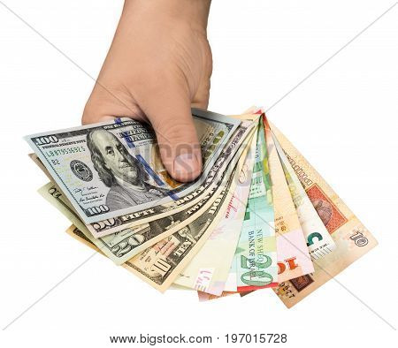 Outstretched hand with money on white background