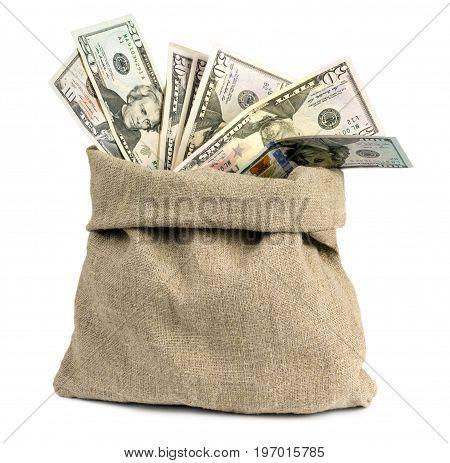 Full bag of dollars on a white background