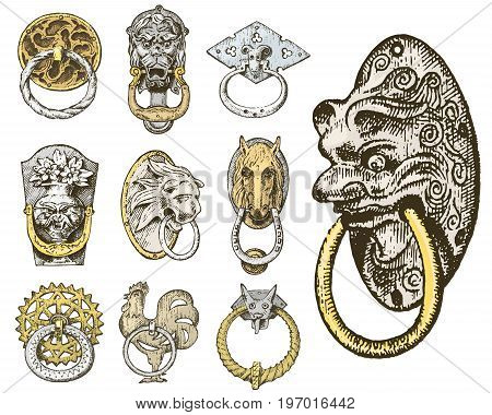 Detail ancient building. architectural ornamental elements, wooden door knob, knocker or handles. lion and horse. engraved hand drawn in old sketch, vintage and Antique, baroque or gothic style