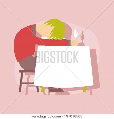 paper sticker on stylish background of man sleeping at desk