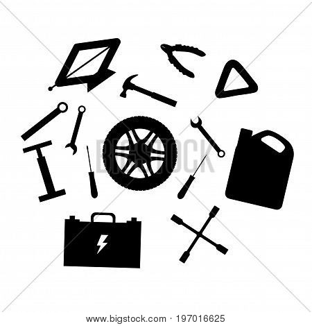 Silhouette design elements of Car service and diagnostic. Auto mechanic repair of machines. Mechanic Tools and equipment set