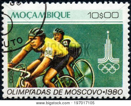 UKRAINE - CIRCA 2017: A postage stamp printed in Mozambique shows Cycling from series Summer Olympic Games 1980 Moscow circa 1980