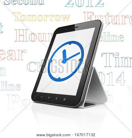 Timeline concept: Tablet Computer with  blue Clock icon on display,  Tag Cloud background, 3D rendering