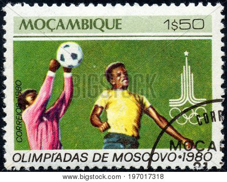 UKRAINE - CIRCA 2017: A postage stamp printed in Mozambique shows Football Soccer from series Summer Olympic Games 1980 Moscow circa 1980