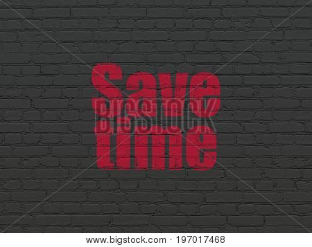 Time concept: Painted red text Save Time on Black Brick wall background