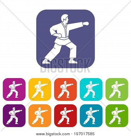 Aikido fighter icons set vector illustration in flat style in colors red, blue, green, and other