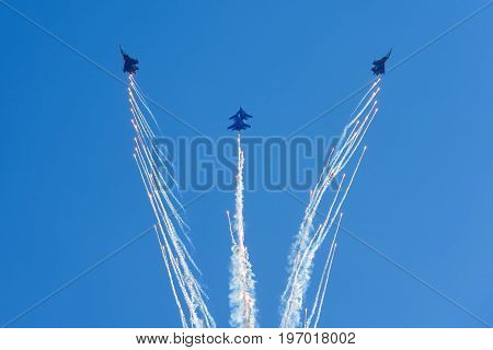 Moscow Region - July 21, 2017: Aerobatic display team