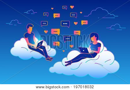 Chat talk concept design of young people using laptops for sending messages and sitting on clouds in the sky. Gradient line vector illustration of guy and girl flirting and typing messages