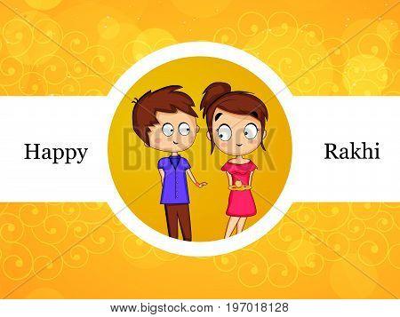 illustration of boy and girl with Happy Rakhi text on the occasion of hindu festival Raksha Bandhan