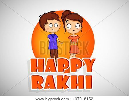 illustration of boy and girl with Happy Rakhi text on the occasion of hindu festival Raksha Bandhan