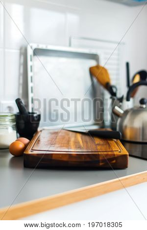 Chopping Board And Knife On Grey Table-top Kitchen